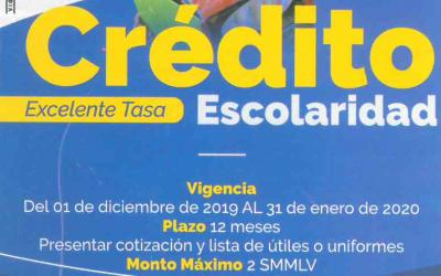Crédito Escolaridad Vigencia del 01 Diciembre de 2019 al 31 de Enero de 2020