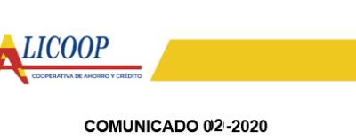 Comunicado 02-2020 para asociados